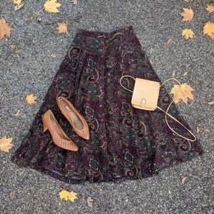 Vintage Paisley Button Down A-Line Midi Skirt